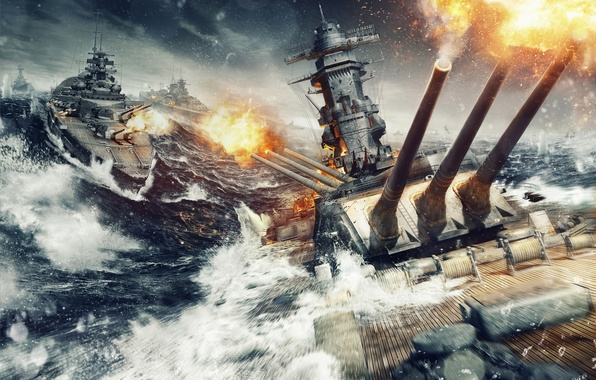 Picture The sky, Water, Clouds, Wave, Smoke, Fire, Ship, Iron, Trunk, Sparks, Ships, Flame, Shot, Wargaming …