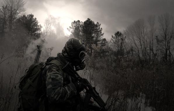 Picture forest, grass, swamp, machine, gas mask, camouflage, backpack, Stalker, Kalashnikov