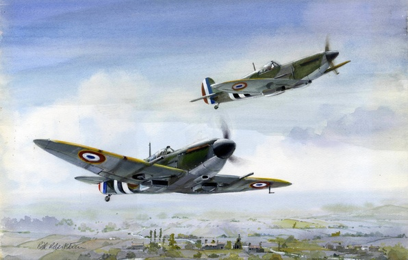 Picture flight, figure, art, fighters, Spitfire, British, Free French