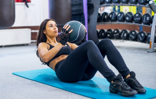 Picture brunette, ball, workout, abs