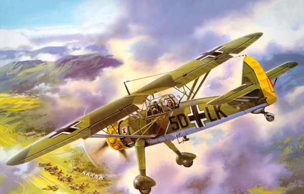 Picture the sky, mountains, the plane, earth, figure, the airfield, aircraft, scout, German, WW2, tents, middle, …