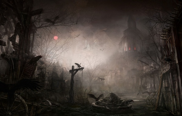 Picture night, the city, the ruins, crows, Diablo III