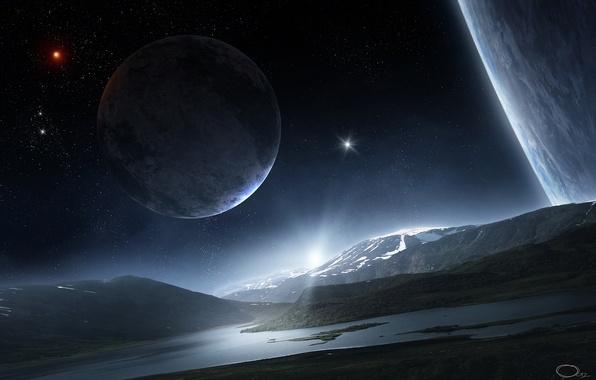 Picture water, space, stars, surface, mountains, river, hills, landscape, planet, satellite, art, QAuZ