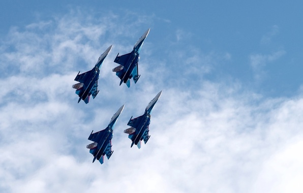 Picture the sky, fighters, Airshow, Su-27, The Russian air force, Russian Knights