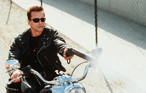 Picture man, motorcycle, actor, shotgun, Terminator 2, Arnold Schwarzenegger, Arnold Schwarzenegger, Judgment Day, Terminator 2, Judgment …