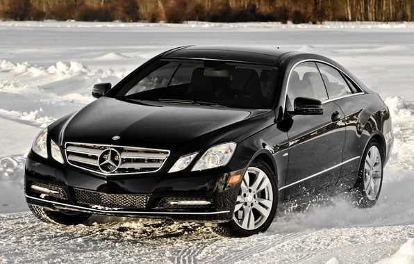Picture snow, black, coupe, mercedes-benz, Mercedes, coupe, the front, 4matic, e350, E-class, E-class
