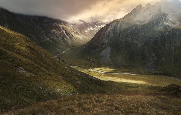Picture mountains, nature, river, valley