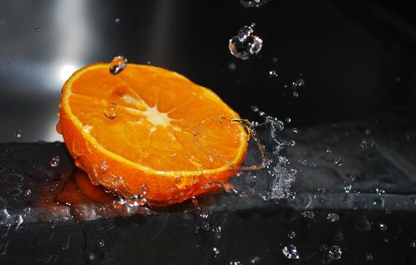 Picture water, drops, macro, squirt, orange, water, orange