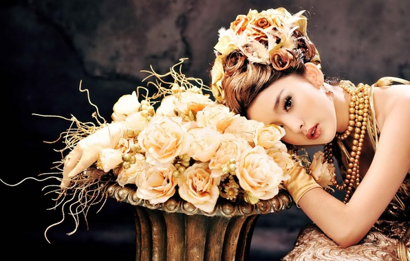 Picture girl, decoration, flowers, model, roses, dress, hairstyle, Asian