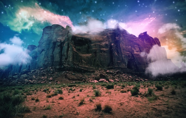 Picture sand, space, clouds, rock, fantasy, stones, fiction, mountain, fantasy, the bushes, another planet