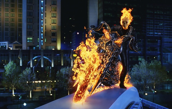 Picture fire, skull, motorcycle, Ghost rider, ghost rider