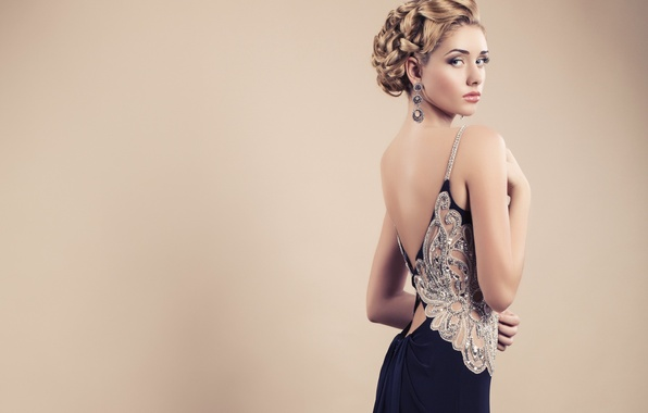 Picture look, girl, face, background, model, hair, back, makeup, dress, hairstyle, beautiful, evening