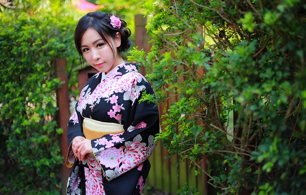 Picture girl, flowers, face, style, background, hair, makeup, kimono