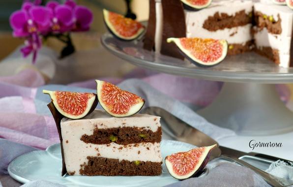 Picture chocolate, cake, cream, piece, figs
