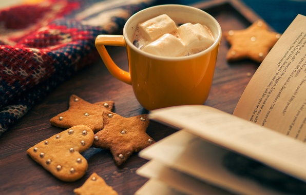 Picture winter, holiday, heart, star, food, cookies, Cup, book, star, heart, winter, cup, cocoa, book, holiday, …
