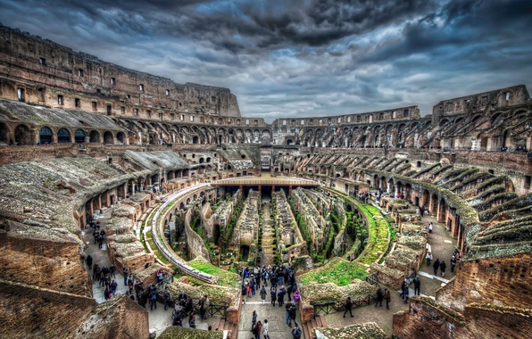 Picture people, hdr, Rome, Colosseum, Italy, ruins, tourists, tour