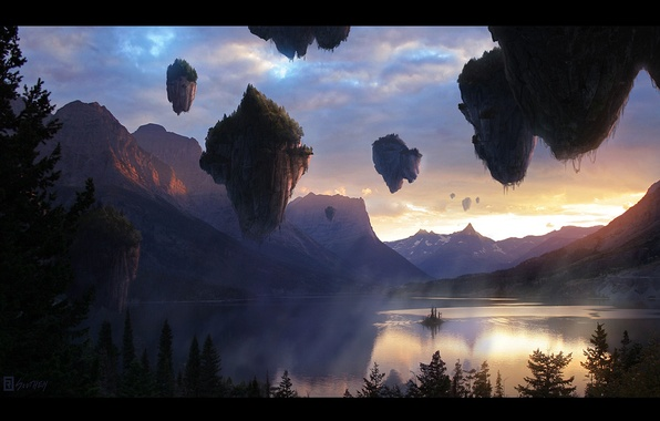 Picture landscape, sunset, mountains, nature, lake, fiction, the evening, avatar, the floating island