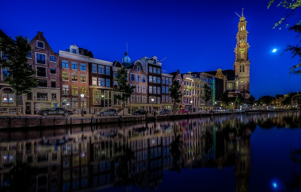 Picture auto, machine, reflection, building, Amsterdam, Church, channel, Netherlands, night city, promenade, Amsterdam, Netherlands, The Westerkerk, …