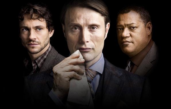 Picture the series, actors, Mads Mikkelsen, Mads Mikkelsen, Will Graham, Laurence Fishburne, Hugh Dancy, Hugh Dancy, ...