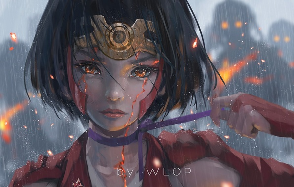 Picture girl, rain, anime, tears, art, tape, wlop, koutetsujou no kabaneri, mumei