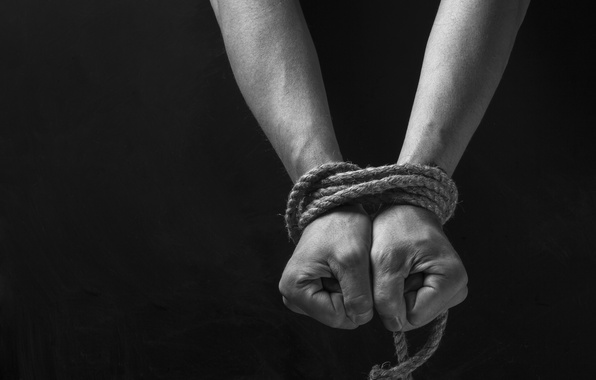 Picture background, black, hands, ropes, shackles