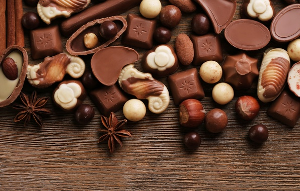 Picture chocolate, candy, sweets, nuts, dessert, star anise, Anis