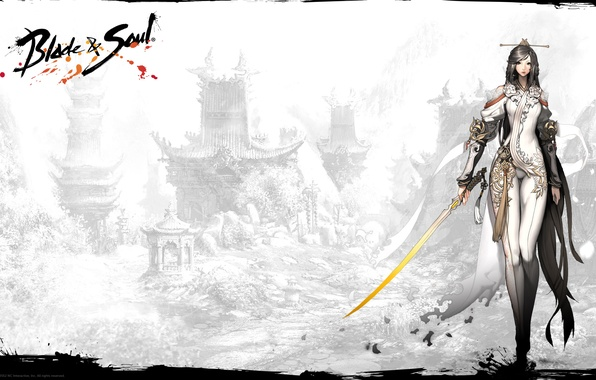 Picture girl, weapons, sword, blade, game, soul, mmorpg, ncsoft, tails, blade & soul, Blade and Soul