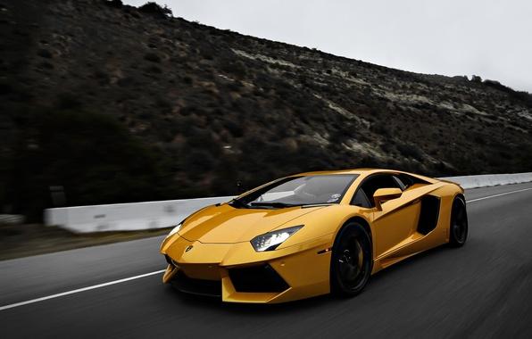 Picture Lamborghini, Yellow, speed, LP700-4, Aventador, Supercars, Exotic