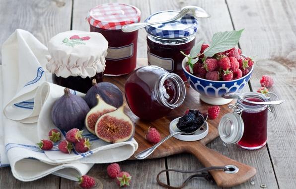 Picture berries, raspberry, jars, Board, jam, jam, spoon, figs, Anna Verdina