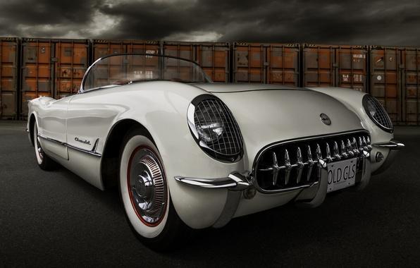 Picture retro, Corvette, Chevrolet, Chevrolet, classic, 1954, the front, Corvette
