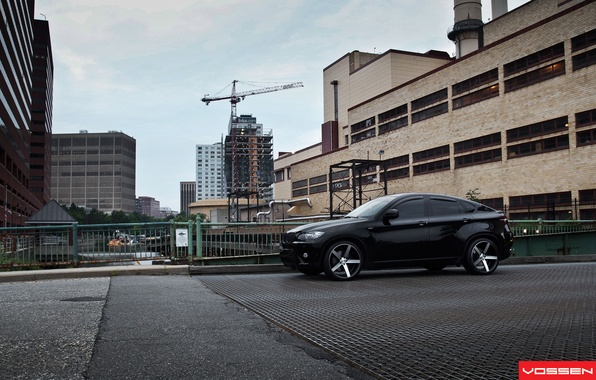 Picture black, building, home, jeep, drives, Tuning, BMW X6, Vossen, BMW x six