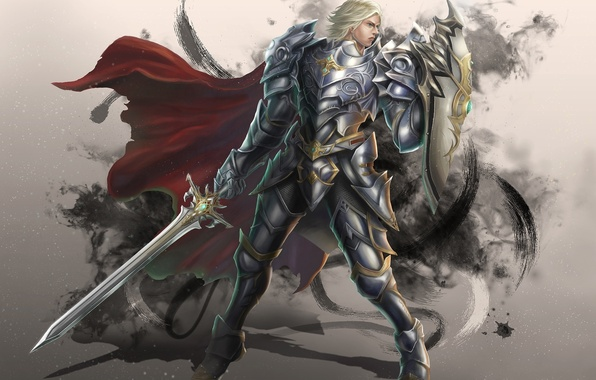 Picture look, pose, weapons, fiction, sword, armor, warrior, art, armor, shield
