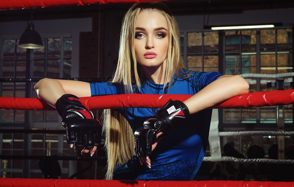 Picture girl, sport, makeup, t-shirt, hairstyle, blonde, Boxing, gloves, the ring, ropes, beautiful, blue, Kristiana Koroleva