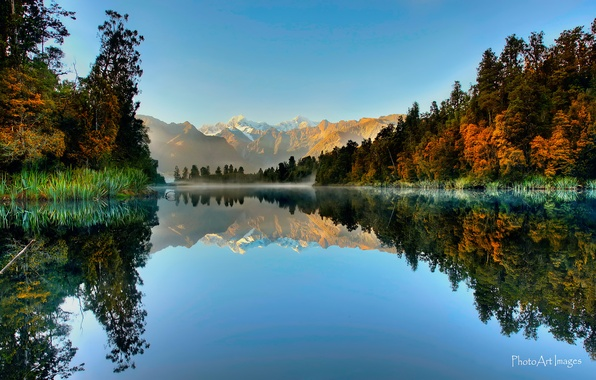 Picture forest, reflection, mountains, lake, New Zealand, South island, National Park Westland, Fox Glacier, Lake Matheson