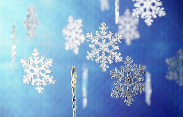 Picture decoration, snowflakes, blue, background, mood, holiday, Wallpaper, Shine, new year, picture, brightness