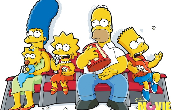 Picture Maggie, Simpsons, Homer, Lisa, Marge, Popcorn, Bart