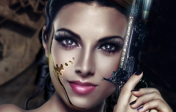 Picture eyes, look, girl, face, weapons, patterns, hair, art, cyborg, revolver