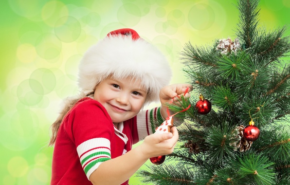 Picture joy, smile, holiday, girl, tree, bumps, cap, Christmas decorations, brown-eyed