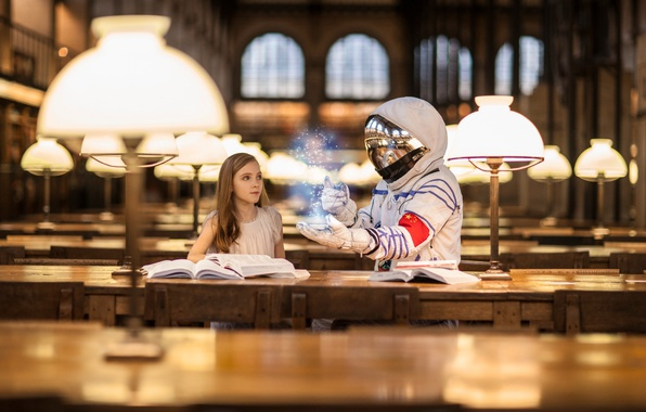 Picture light, lamp, astronaut, girl, library