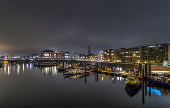 Photo wallpaper night, bridge, lights, river, home, Germany, pier, lights, boats, promenade, Hamburg