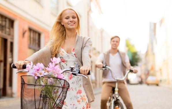 Picture people, Girl, pair, guy, walk, bikes