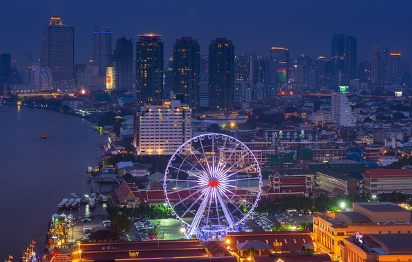Picture lights, river, view, building, home, skyscrapers, lighting, backlight, panorama, Ferris wheel, Thailand, Bangkok, night city, ...