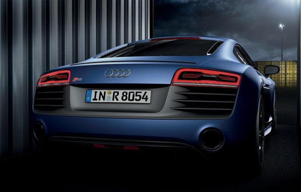 Picture Audi, Auto, Night, Blue, Room, V10, Containers
