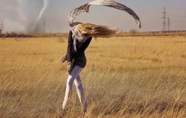 Picture field, girl, scarf, tornado