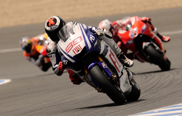 Photo wallpaper Motorcycle, Racer, Three, Turn, MotoGP, Speed, Yamaha, Road, Sport, Moto