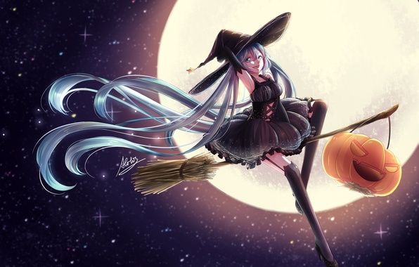 Picture the sky, girl, stars, the moon, hat, anime, art, pumpkin, witch, broom, vocaloid, hatsune miku, …