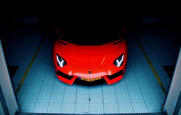 Picture Lamborghini, front, orange, garage, LP700-4, aventador