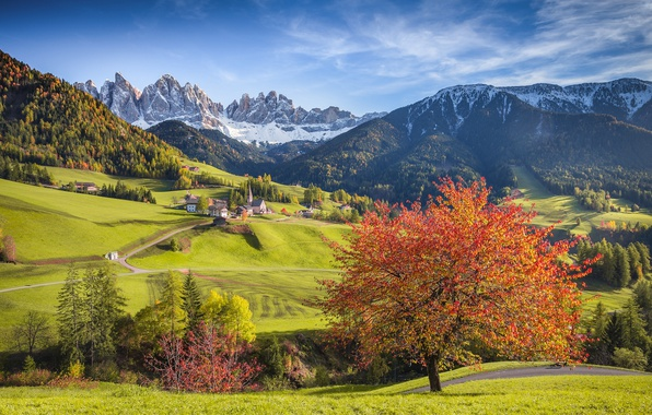 Picture autumn, mountains, tree, village, Alps, Italy, Church, forest