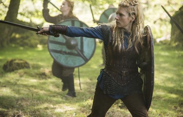 Picture sword, shield, Vikings, The Vikings, Katheryn Winnick, Lagertha