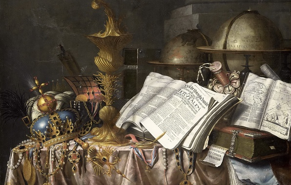 Picture art, book, still life, painting, The Golden age